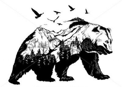 Фотообои Vector Double exposure, bear for your design, wildlife concept