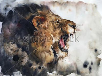 Фотообои Watercolour painting of lion