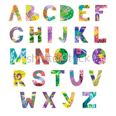 Фотообои Vector hand drawn latin artistic alphabet. Doodle fancy abc. Colorful fanky creative font.