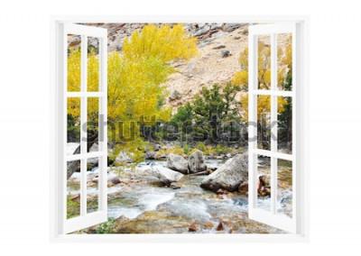 Фотообои Открытое окно с красивой природой на фоне