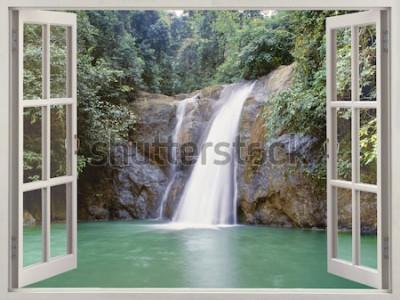 Фотообои Открыть окно с видом на тропический водопад возле города водопадов, Илиган, Минданао, Филиппины