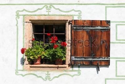 Фотообои Красивое окно загородного дома с цветами