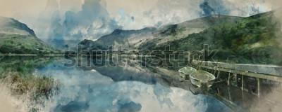 Фотообои Цифровая акварельная живопись панорамы пейзажных гребных лодок на озере с причалом на фоне горного хребта