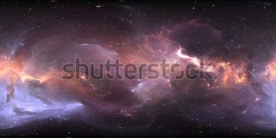 Фотообои Панорама 360-градусной космической туманности, равносторонняя проекция, карта окружающей среды. HDRI сферическая панорама. Космический фон с туманностью и звездами. 3d иллюстрация