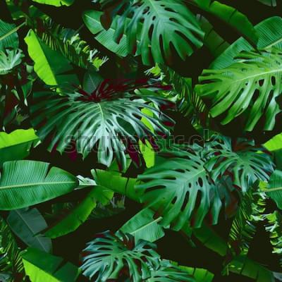 Фотообои Тропические цветочные листья бесшовные модели зеленого цвета на черном фоне джунглей. Натуральный фотоколлаж зеленого цвета. Художественный дизайн для цветочного принта и современных обоев.