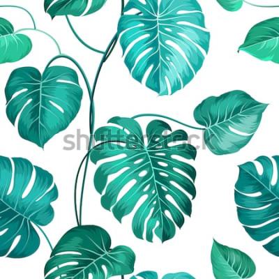 Фотообои Актуальные пальмовые листья над белым, бесшовные модели. Векторная иллюстрация