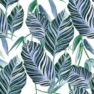 Фотообои Акварель бесшовные модели с тропическими листьями: пальмы, монстера, маракуйя. Красивая повторяющаяся печать с рисованной экзотических растений. Купальники ботанического дизайна.