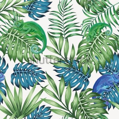 Фотообои Природа хамелеона экзотических синих и зеленых тропических листьев бесшовные модели на белом фоне вектор
