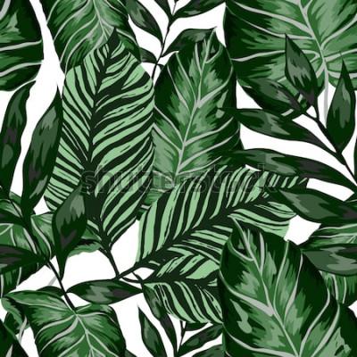 Фотообои Акварель бесшовные модели с тропическими листьями: пальмы, монстера, маракуйя. Красивая повторяющаяся печать с рисованной экзотических растений. Купальники ботанического дизайна. Вектор.