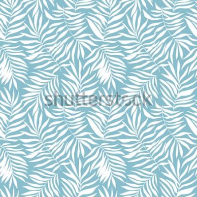 Фотообои Бесшовный фон с тропическими пальмовых листьев. Красивая печать с рисованной экзотических растений. Купальники ботанического дизайна. Векторная иллюстрация