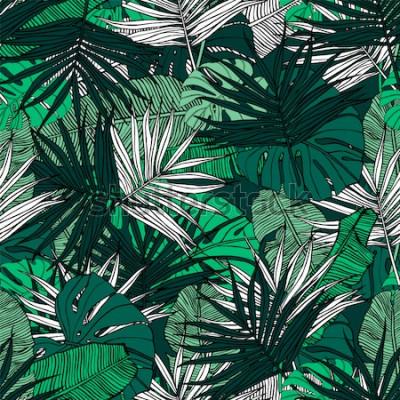 Фотообои Тропический бесшовные модели. Ручной обращается иллюстрации с листвой тропических растений. Текстура с банановыми листьями, пальмы и монстера. Летний векторный дизайн.