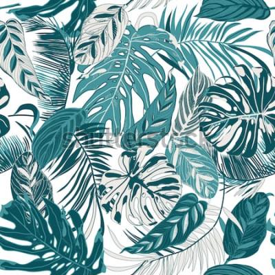 Фотообои бесшовный фон с тропическими листьями