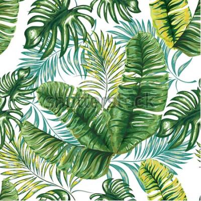 Фотообои Безшовная картина тропической пальмы, листьев джунглей и цветков. Рука рисунок. Цветочный узор вектор
