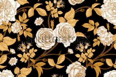 Фотообои Розы, цветы, листья, ветки и ягоды шиповника. Цветочный марочных бесшовные модели. Золото, недостаток и белое. Восточный стиль Векторная иллюстрация искусства. Для дизайна текстиля, бумаги, обоев.