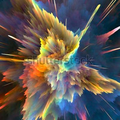 Фотообои Абстрактный красочный фон взрыва. Макрофотография, hi-res иллюстрации для вашей брошюры, флаера, баннер дизайн и другие проекты. Взрыв световой эффект. 3D визуализация иллюстрации.