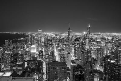 Фотообои Вид с воздуха горизонта Чикаго городского на заходе солнца от высоко над.