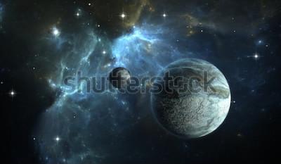 Фотообои Внесолнечная планета. Каменная планета с луной на фоне туманности. 3D иллюстрация
