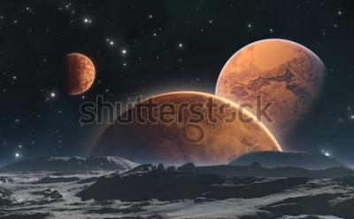 Фотообои Скалистые планеты и Луна, космический фон. 3d иллюстрация