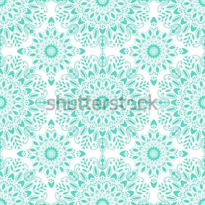 Фотообои Мандала бесшовные модели. Богемный стиль Винтажная предпосылка с круглым орнаментом, декоративным индийским медальоном, абстрактным элементом цветка. Векторный дизайн