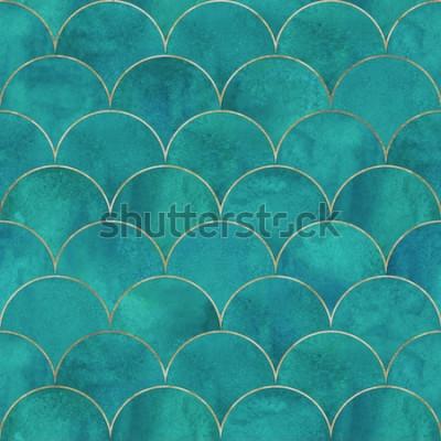 Фотообои Русалка рыбьей чешуи волна японской роскоши бесшовные модели. Акварель рисованной темно-бирюзовый бирюзовый фон с золотой линией. Акварельные весы в форме текстуры. Печать для текстиля, обоев, упаковк