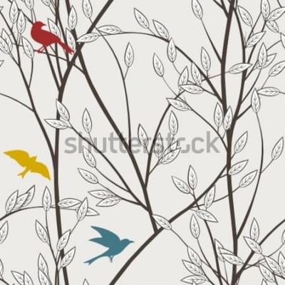 Фотообои красочные птицы и ветки