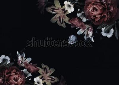 Фотообои Цветочная винтажная открытка с цветами. Пионы, тюльпаны, лилия, гортензия на черном фоне. Шаблон для оформления свадебных приглашений, праздничных поздравлений, визиток, декоративной упаковки