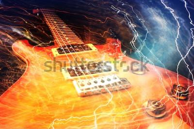 Фотообои Электрогитара в окружении молний