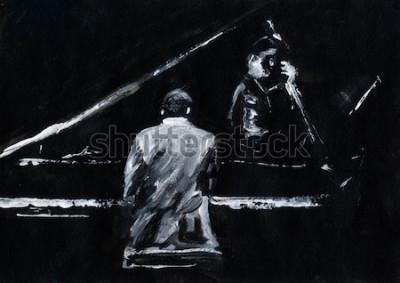 Фотообои Пианист и контрабасист. Концерт джаз-бэнда. Пианист и контрабасист выступают на сцене. Стильная черно-белая абстрактная живопись. Спина и вид сбоку. Музыканты с инструментами.