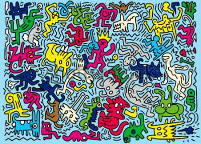 Фотообои Ручной обращается векторная иллюстрация Doodle забавного животного, иллюстратор линии инструментов рисования, плоский дизайн
