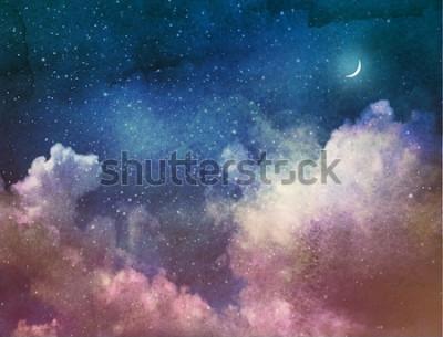 Фотообои Вселенная наполнена звездами и луной. Акварель