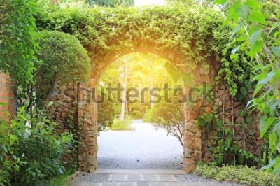 Фотообои Каменные арочные въездные ворота покрыты плющом. Арка в парк с солнечным светом.