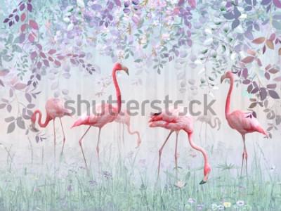 Фотообои Розовые фламинго в нежном саду в бирюзовом тумане. Росписи и обои для внутренней печати.