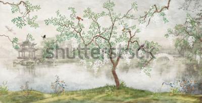 Фотообои Дерево у озера. Туманный пейзаж. Дерево с птицами в японском саду. фреска, обои для внутренней печати