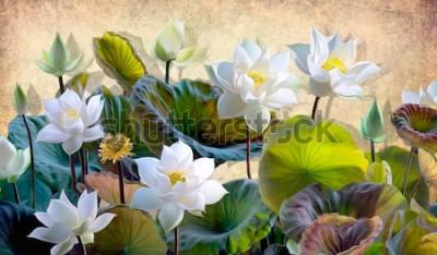 Фотообои Иллюстрация цифров зацветая цветков белого лотоса с зелеными листьями на предпосылке бежевых стен в просторной квартире. Обои и росписи для внутренней печати.