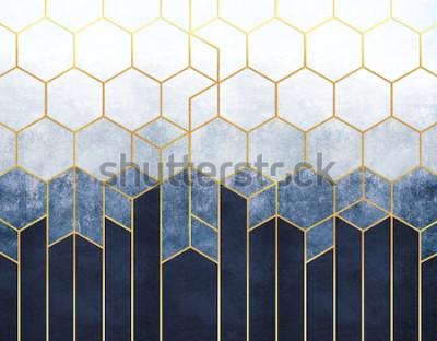 Фотообои Геометрическая абстракция шестиугольников на синем фоне рельефа с золотыми элементами. Фреска для внутренней печати, Обои.