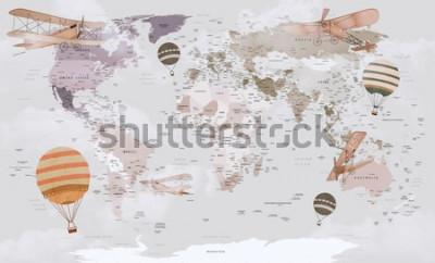 Фотообои Карта мира животных для детей дизайн обоев