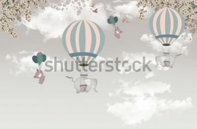 Фотообои 2 слона с балонным деревом на небе обои 3d