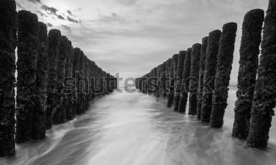 Фотообои волноломы у балтийского моря в черно-белых тонах