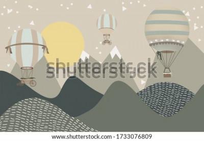 Фотообои mountains and hot air balloons child room wallpaper