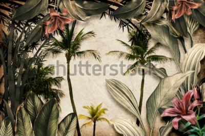 Фотообои Colored Tropical Flowers wallpaper illustration