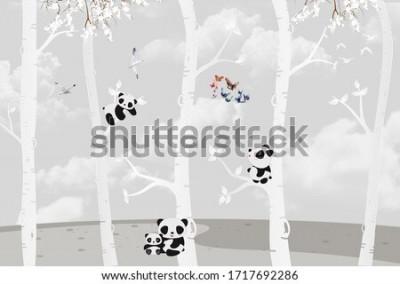 Фотообои Cute pandas playing in the jungle