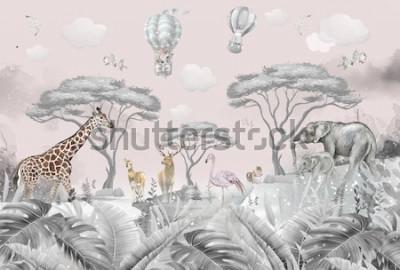 Фотообои animals in the forest children's room wallpaper design