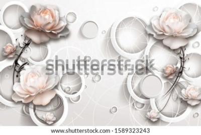 Фотообои 3D Rings and Flowers wallpaper
