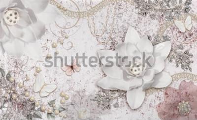 Фотообои 3d illustration of flower background-3d wallpaper