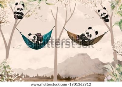 Фотообои cute pandas lying in hammock for child room wallpaper design