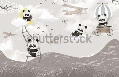 Фотообои cute pandas playing in the sky kids room wallpaper design