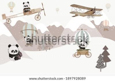Фотообои Playing cute pandas kids room wallpaper design