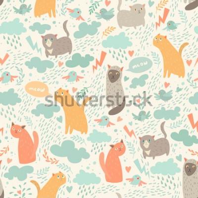 Фотообои Cute cats vector seamless pattern. With hearts, birds, leaf