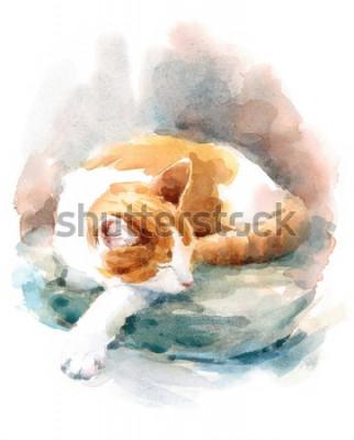 Фотообои Watercolor Cat Sleeping on the Pillow Hand Painted Pet Portrait Animal Illustration