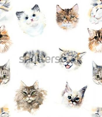 Фотообои Seamless pattern with cats. Watercolor hand drawn illustration